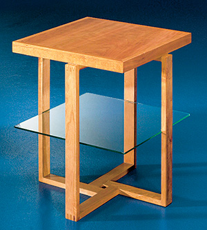 Bathos Tables - Wood and Glass Side Table